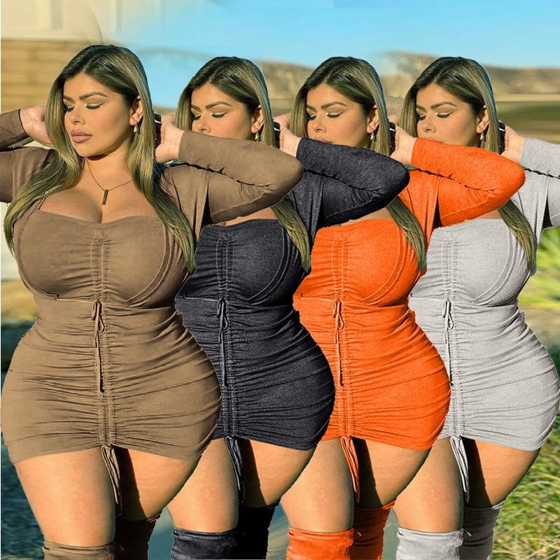 2021女人味包臀裙纯色长袖宽松V领棕色欧美牛奶丝连衣裙打底衫