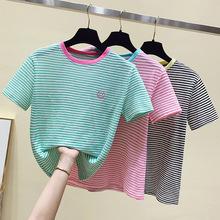 清新简约笑脸刺绣横条纹T恤女2021夏季新款韩版薄款短袖圆领上衣