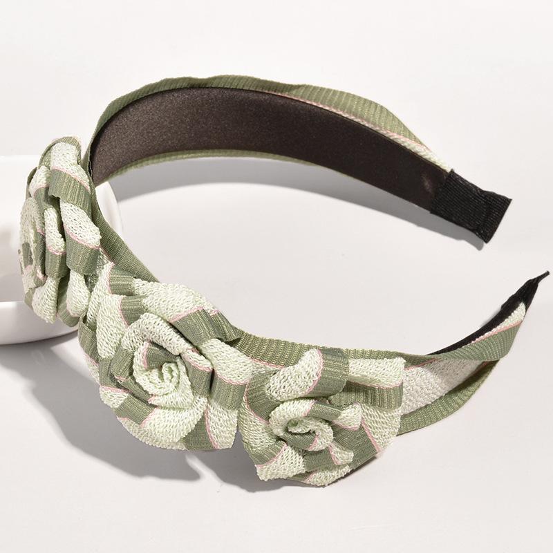 retro flower contrast color wide-brimmed headband  NHWB332777