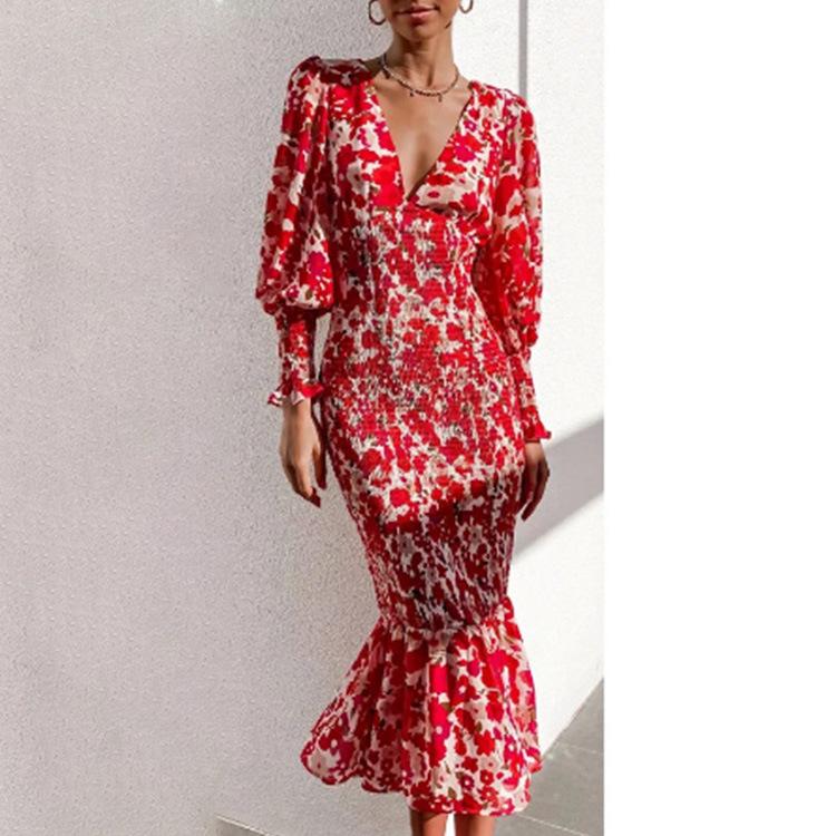 women s V-neck slim fishtail dress nihaostyles clothing wholesale NSHHF75786