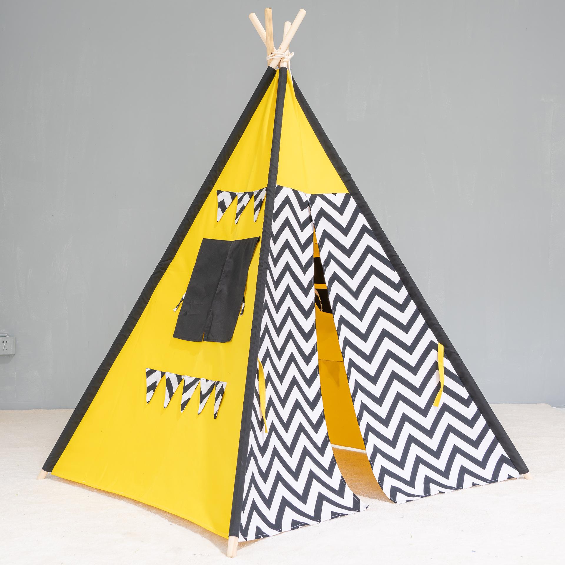 RuyiToys新款儿童玩具印第安帐篷游戏屋纯棉帆布公主房娃娃屋