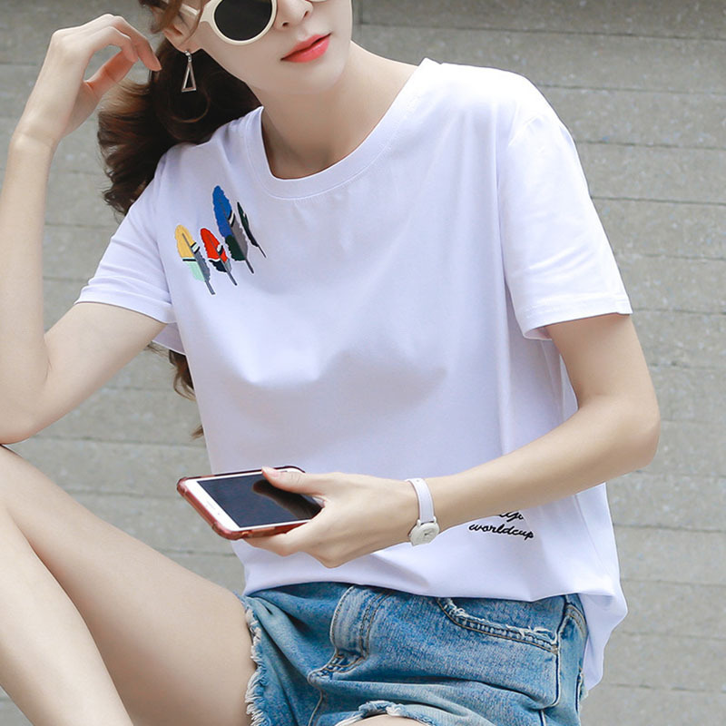 Women's 2021 Summer New Style Pure Cotton Short-sleeved T-shirt Women's Loose Large Size White T-shirt Top