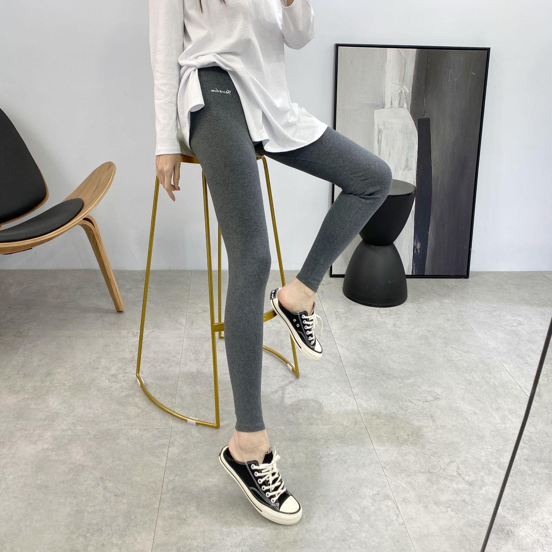2021春季新款韩式女装高腰收腹提臀弹力紧身休闲九分女外穿打底裤