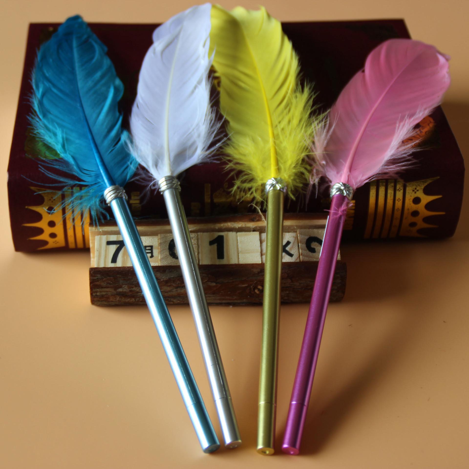 创意韩国个性复古简约羽毛笔 鹅毛中性笔 学生水笔 礼品笔批发