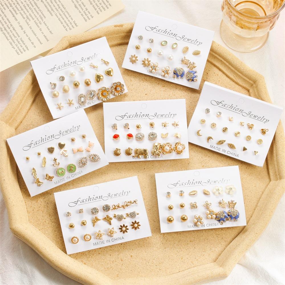 simple creative cute elephant pearl earrings set NHDP312366