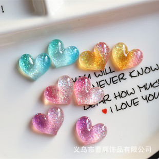 Gradient Glitter Peach Heart Resin Jewelry Accessories Car Driver's License Patch Little Girl Hair Accessories DIY Materials