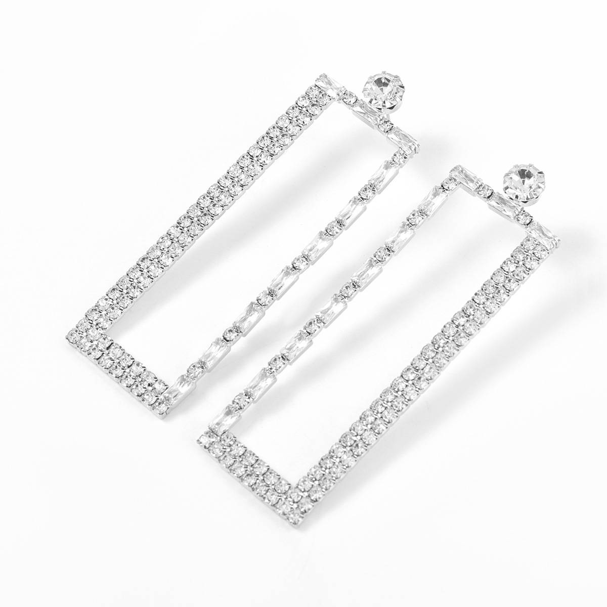 alloy rhinestone rectangular earrings  NHJE315587
