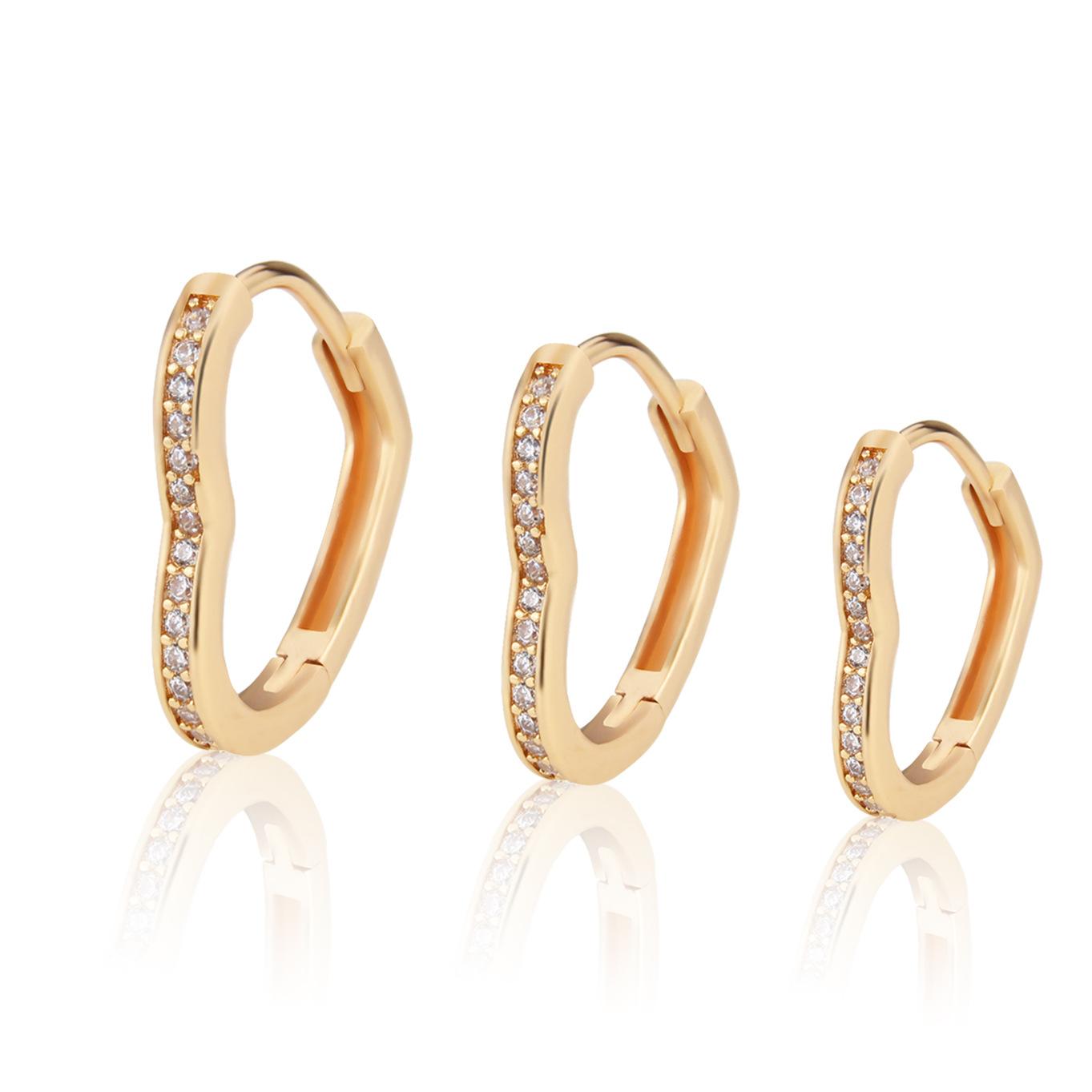 Fashion diamond heartshaped earrings  NHBP364209