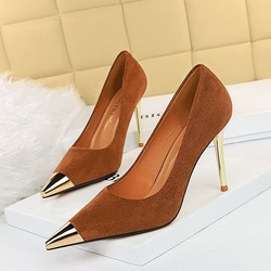 869-16 European and American fashion sexy nightclub show thin high-heeled shoes high heel with suede shallow mouth metal point single shoes