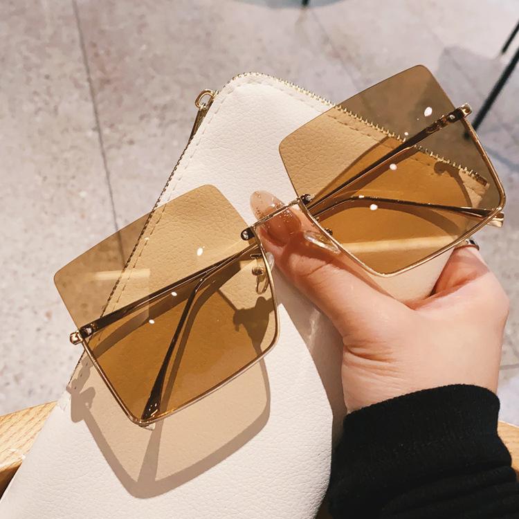 Metal trimmed square big frame sunglasses  NHKD313352
