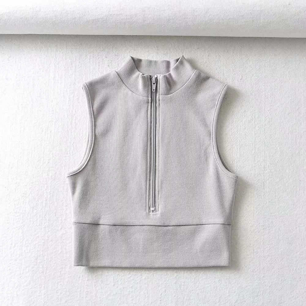high neck tight-fitting zipper vest NSAC24886