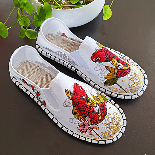 Chinese dragon taichi  kung fu embroidered cloth shoes for women and men's embroidery society wushu breathable cloth shoes ethnic old Beijing clothing flats shoes