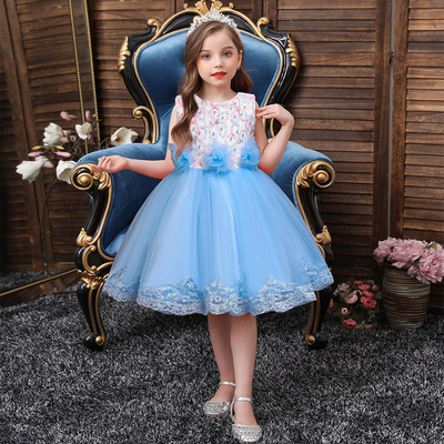 Children dress princess dress big children Flower Dress Girls piano performance dress