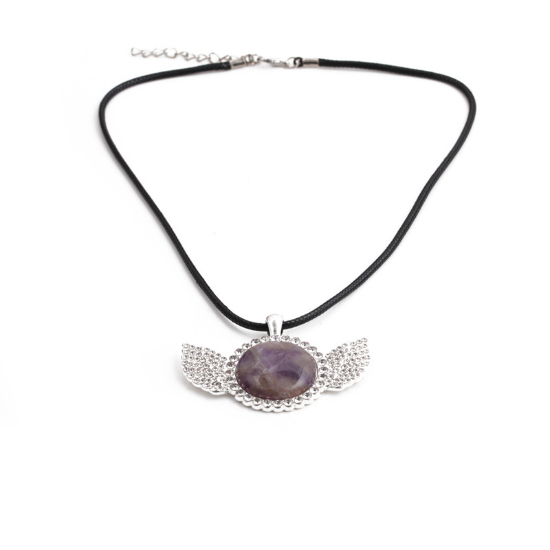 Fashion diamond wings stainless steel necklace wholesale NHYL331859