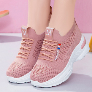 Shoes women 2021 new foreign trade women's shoes flying woven single shoes breathable thickened bottom shoes increase in sports shoes women