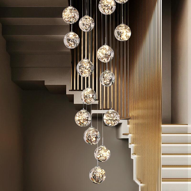 loft玻璃球长吊灯复式楼梯间中空现代简约艺术创意满天星别墅灯具