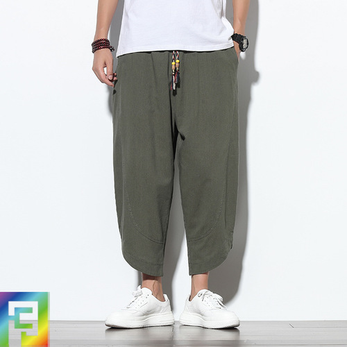Chinese kung fu pants for men male sports gyms Cropped pants male Chinese style linen loose harem pants tang suit beach bloomers
