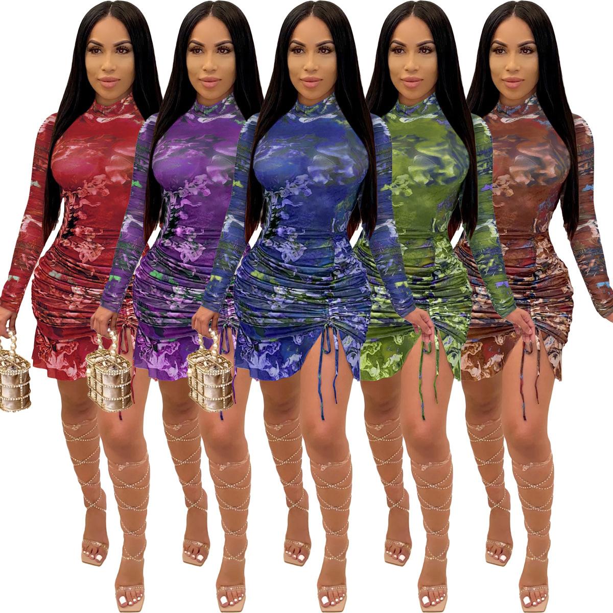 H3553 亚马逊独立站 热卖欧美女装 时尚褶皱数码印花长袖连衣裙