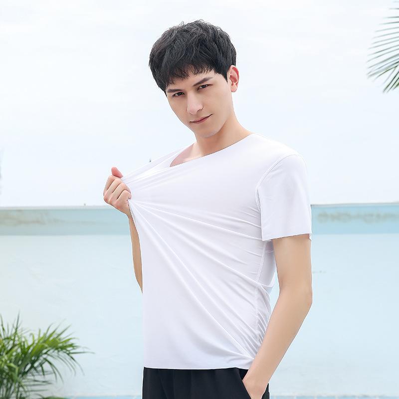 男装夏季薄款莫代尔冰丝无痕男士短袖纯色打底衫T恤修身V领批发
