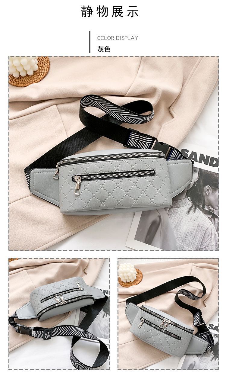 Fashion embossed messenger shoulder waist bag NHTG332322