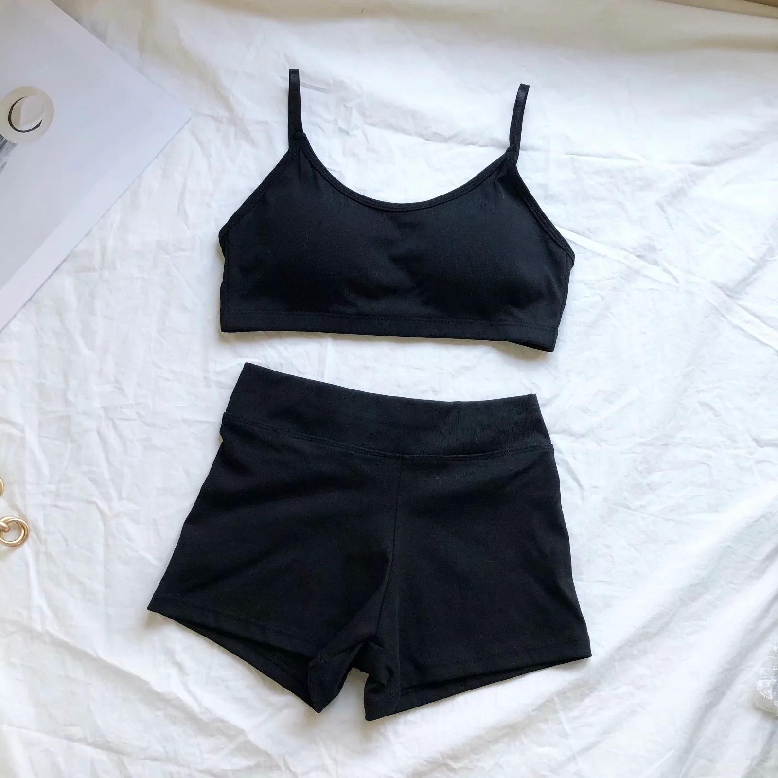 short yoga sling vest high elasticity tight sports shorts suit  NSAC38432