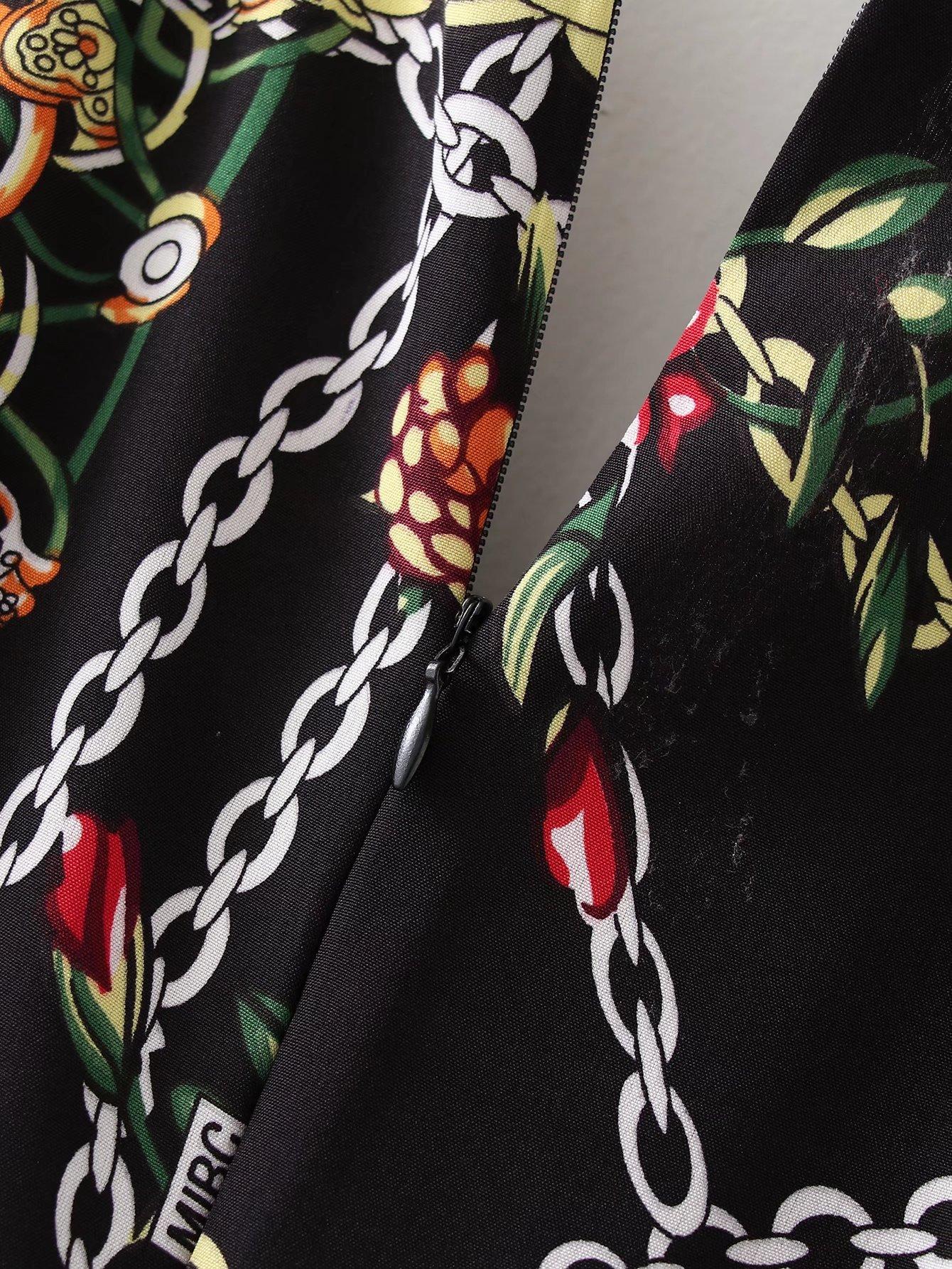 retro V-neck chain print drawstring dress nihaostyles wholesale clothing NSAM83435