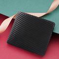 新款定制席纹短款两折撞色活页多卡位零钱袋男士碳纤维真皮钱包