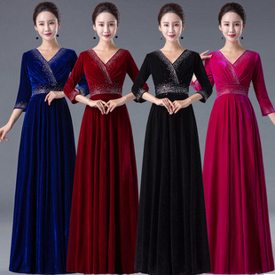 Cantata performance costume women's long skirt 2021 new long middle-aged and elderly adult choir conductor thin evening dress