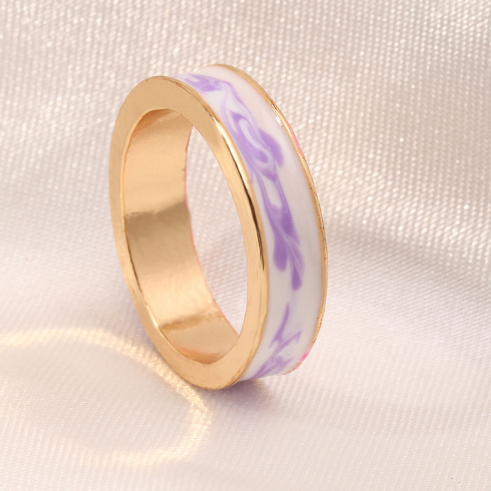 simple alloy dripping oil contrast color ring NHNZ367408
