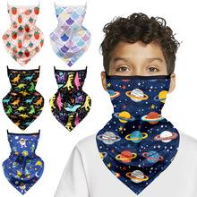 亚马逊2021新款儿童口罩数码印花防晒骑行三角巾防晒围脖魔术头巾