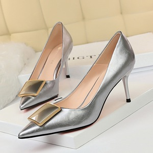 8999-2 han edition professional OL shoes high heels lattice-windows with shallow mouth pointed sexy show thin belt buckl