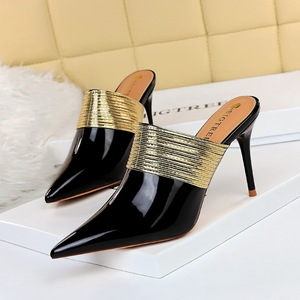 1789-1 the European and American wind restoring ancient ways of fashion high heel with half dragged baotou drag pointed