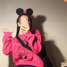 日本定制古着少女卡通可爱小狗狗套头火龙果色卫衣加绒秋冬韩国