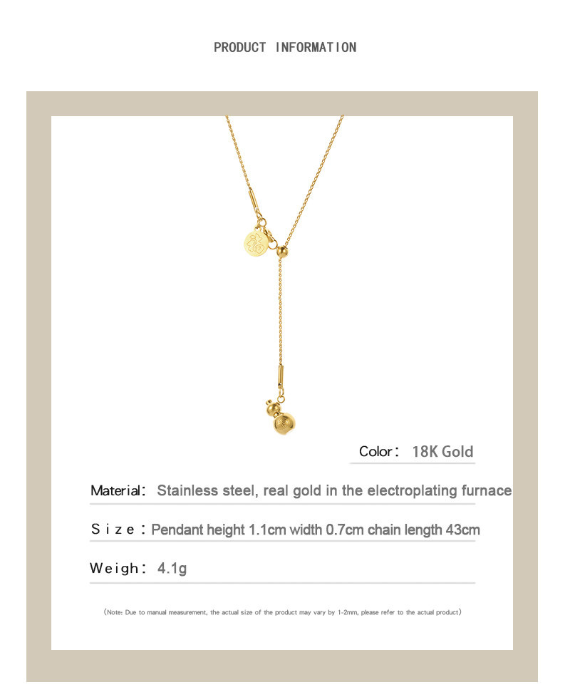 Gourd titanium steel necklace fashion clavicle chain  NHQIY368641