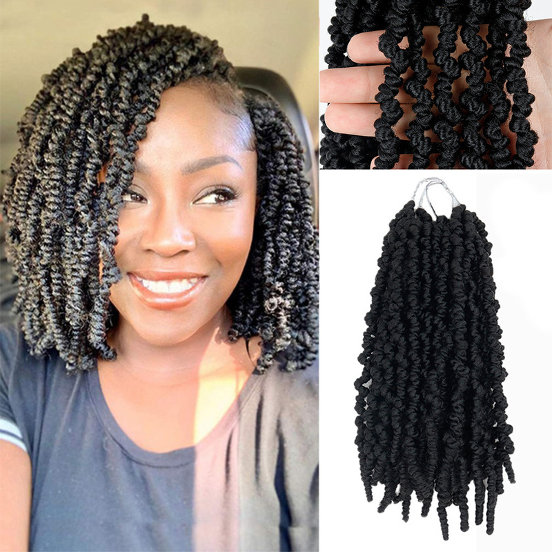 8Inch black brown Spring Twist Hair  faux Crochet Braids Synthetic  Pre-Twist Crochet Hair Extensions 15Roots Bomb Twist hair extension