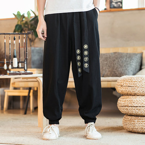 Chinese kung fu pants for men loose casual embroidery cotton linen exercises harem pants men's retro lace-up trousers tang suit