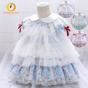 2021 Europe and the United States new small and medium-sized children's floral Lolita girl dress cute flower girl performance dress skirt dress
