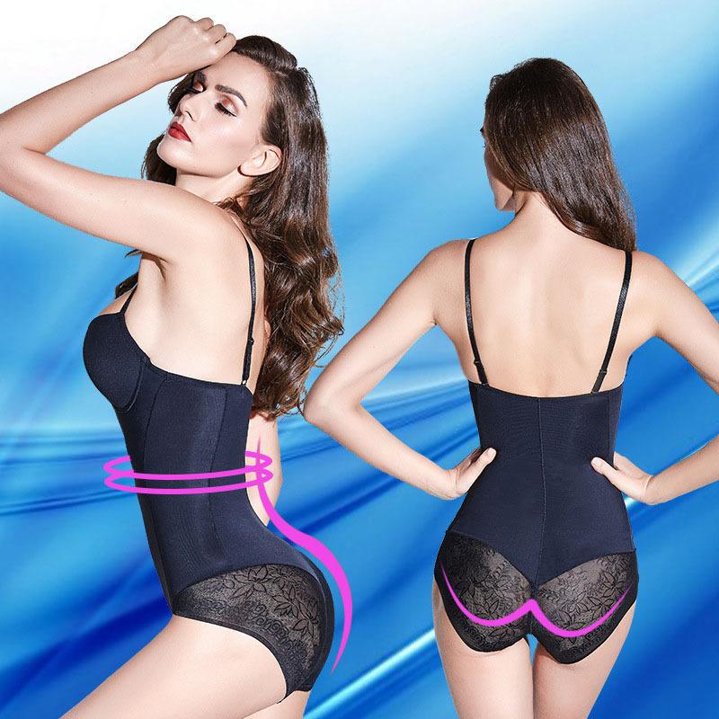 免穿文胸带胸罩一体式塑身衣连体内衣薄款产后美体内衣束腰瘦肚子