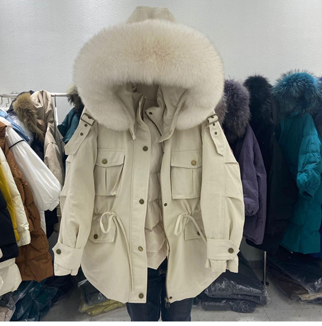 大毛领派克冬2021中长款加厚拉链韩版棉白鸭绒淑女白鸭绒羽绒棉服