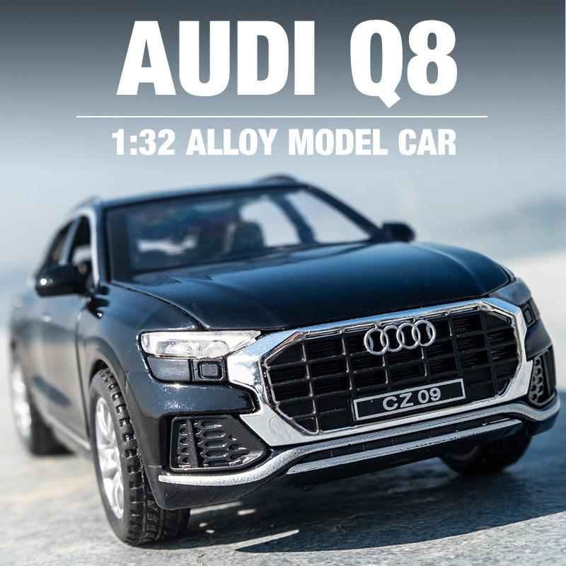 车致奥迪Q8合金汽车模型仿真1:32声光回力摆件儿童玩具车男孩礼物