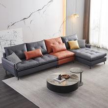 北欧乳胶科技布沙发简约意式极简转角沙发客厅小户型布艺沙发组合