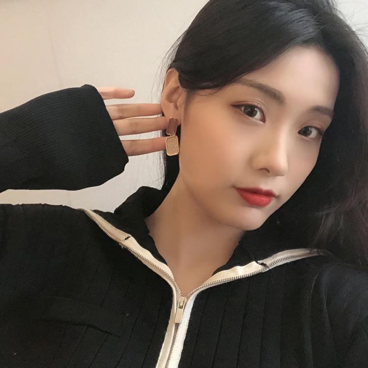 Korea dripping oil geometric earrings wholesale NHBY332734