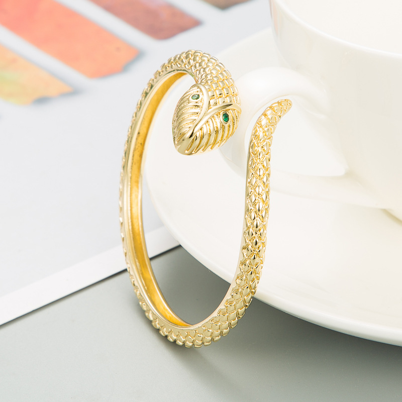 Fashion snakeshaped golden scales microinlaid zircon copper bracelet NHLN336241
