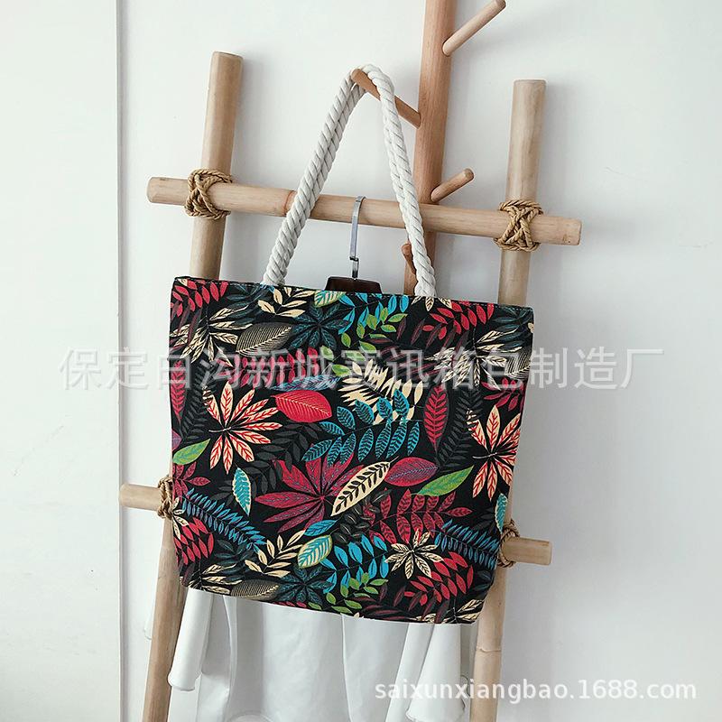 批发粗绳帆布女包双面韩版时尚印花单肩包大容量简约休闲手提包