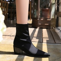 009-13 European and American wind fashion sexy nightclub pedicure show thin with pointed thick with high elastic lycra short boots