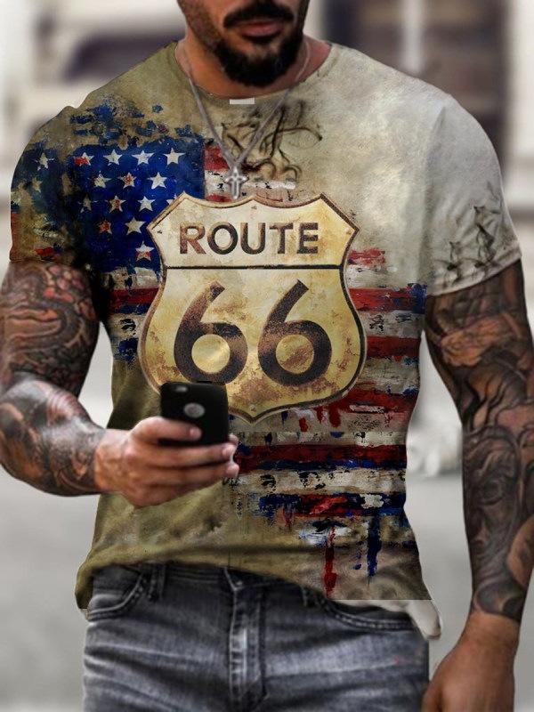 2021跨境T恤外贸欧美男装新款 66号公路3D印花休闲3DT恤 源头厂家
