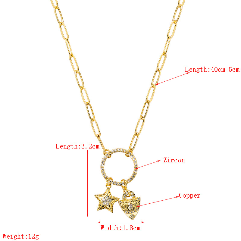 Fashion star heartshape copper inlaid zircon necklace wholesale NHLN336250