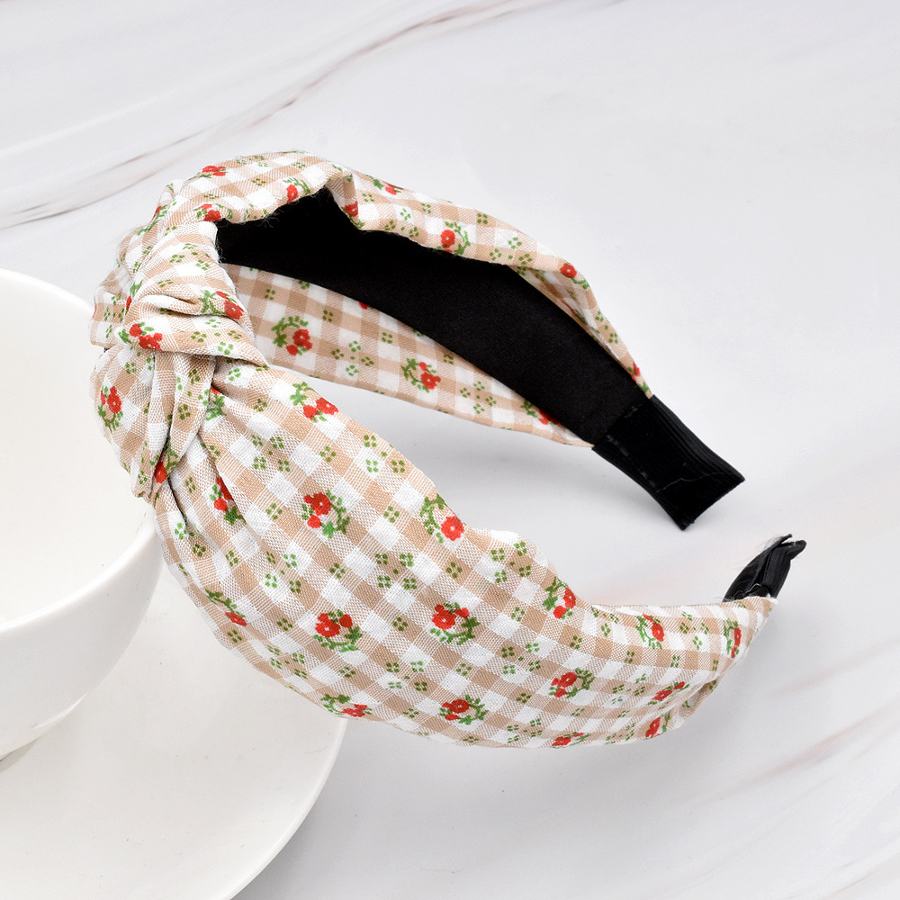 wholesale jewelry retro fabric color matching knotted floral hairband nihaojewelry NHCL375109