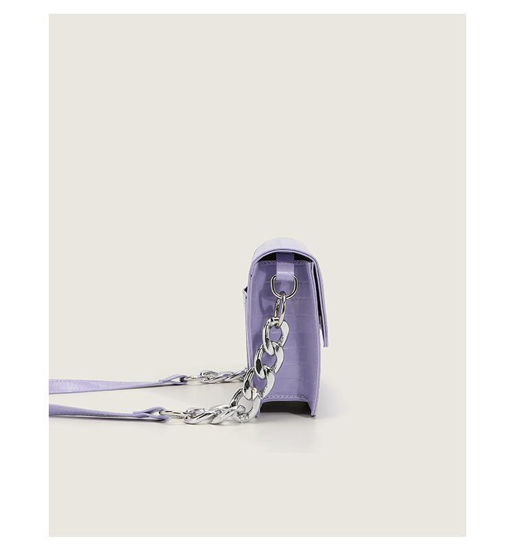 fashion solid color crocodile pattern chain shoulder bag NHASB354406
