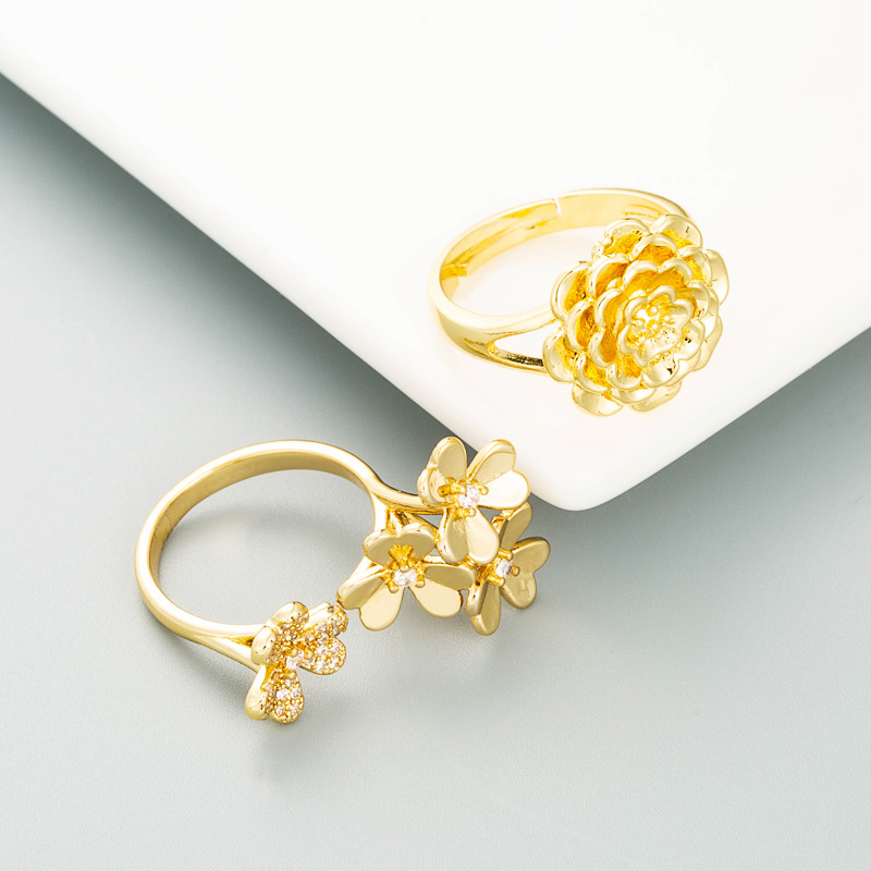 fashion copperplated gold floral ring wholesale  NHLN355155